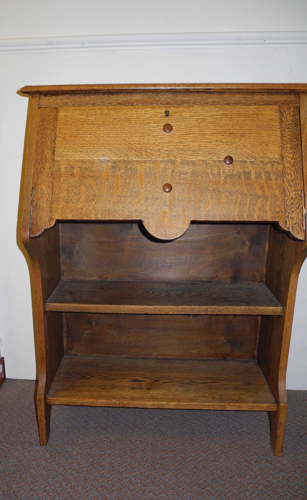 Arts and crafts bureau - Narrow Oak Arts Crafts Bureau Antique Bureaus