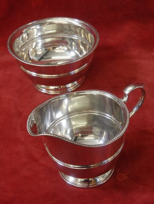 Antique Silver Milk Jug And Sugar Basin C1935