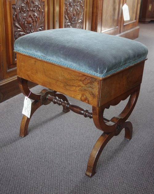 Antique Victorian Walnut Dressing Stool