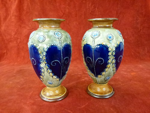 Pair Of Royal Doulton Stoneware Vases Afonwen Craft Antiques Centre