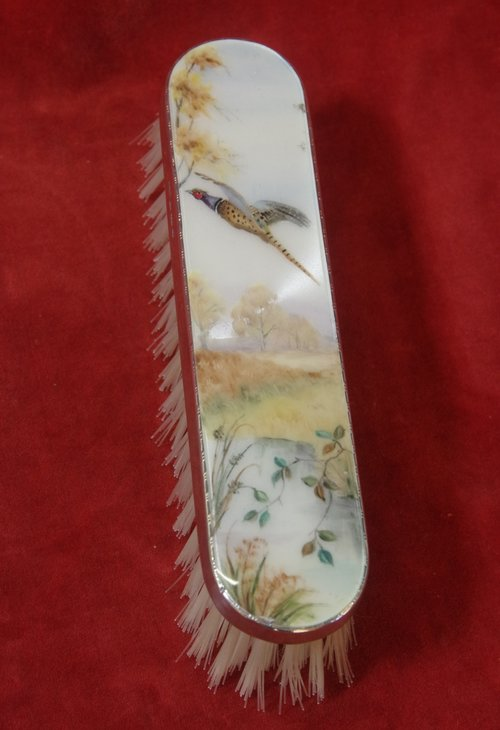 Silver Brush With Enamelled Back C1962