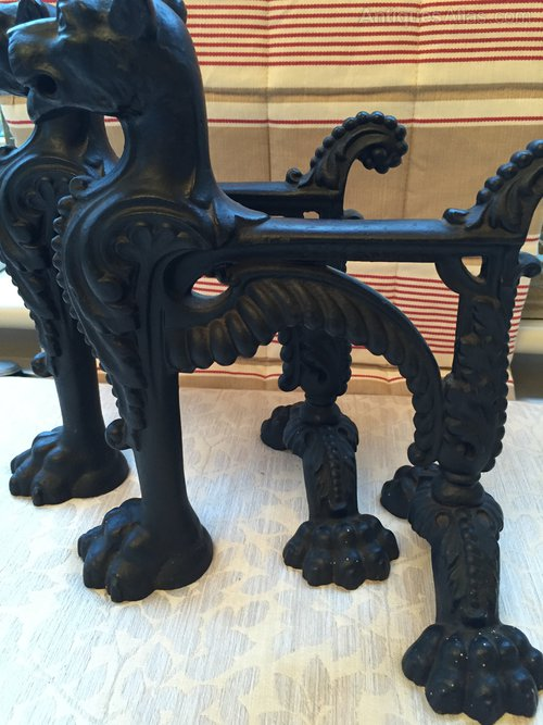 Antiques Atlas Pair Cast Iron Fire Dogs With Lioness Heads