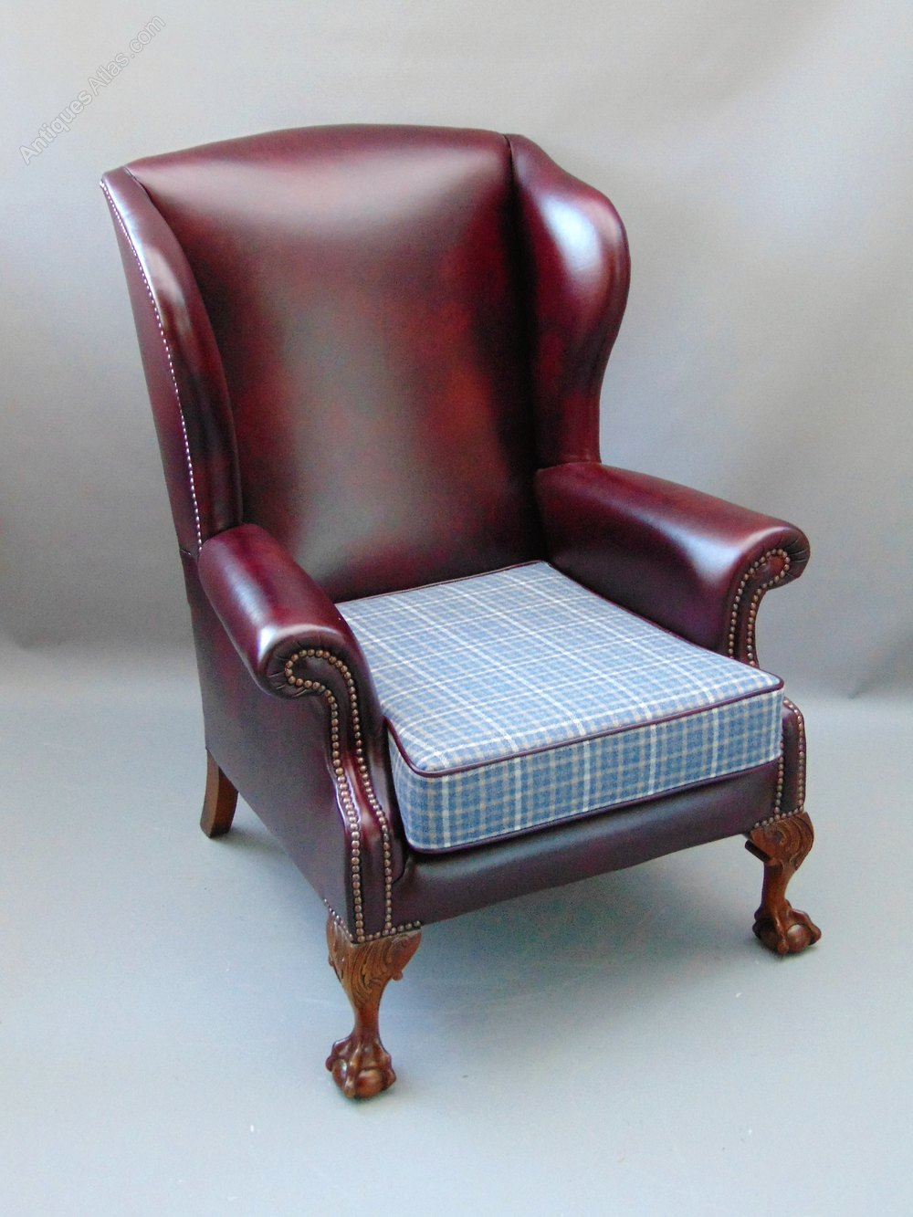 A Leather Wing Back Arm Chair Antiques Atlas