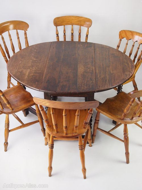 18th Century Oak Gate Leg Dining Kitchen Table Antiques