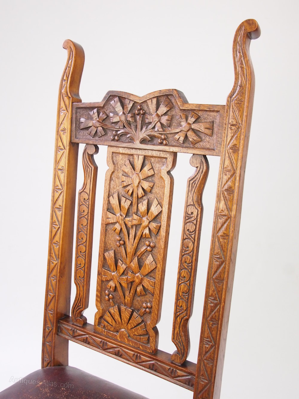 High back antique chairs -  Antique Carved Oak High Back Chair Side Chair Dining Chair
