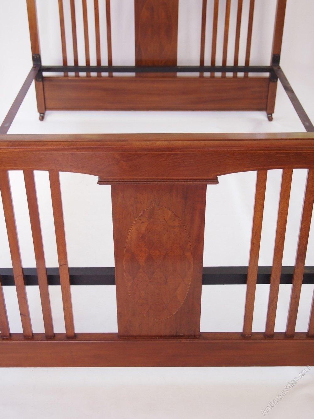 Antique Edwardian Mahogany Double Bed