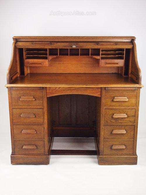 Antique Oak Roll Top Bureau Desk By Lebus Antiques Atlas