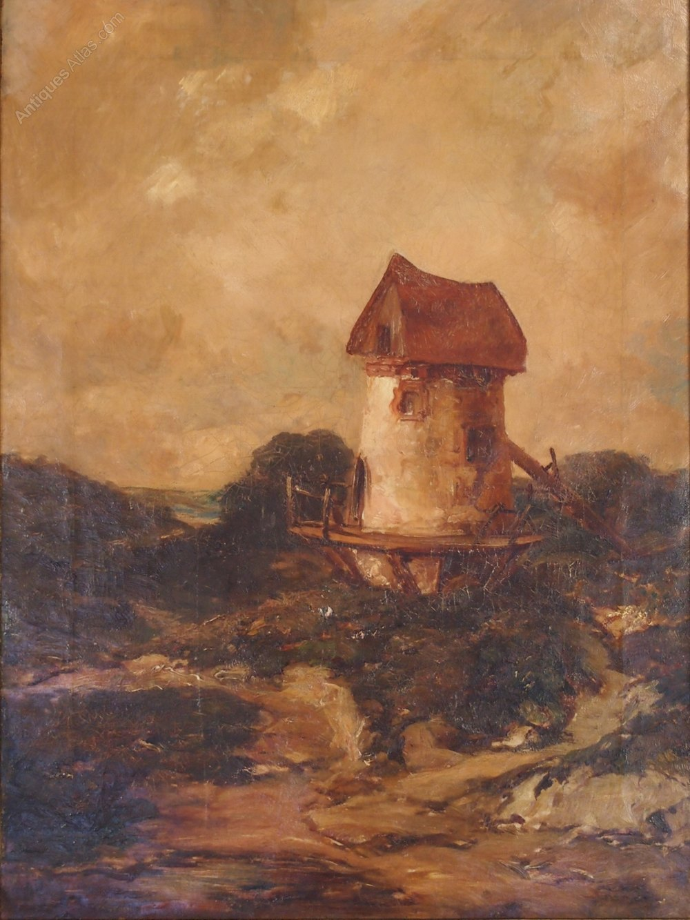 Antiques Atlas Antique Oil Painting Of A Remote Windmill