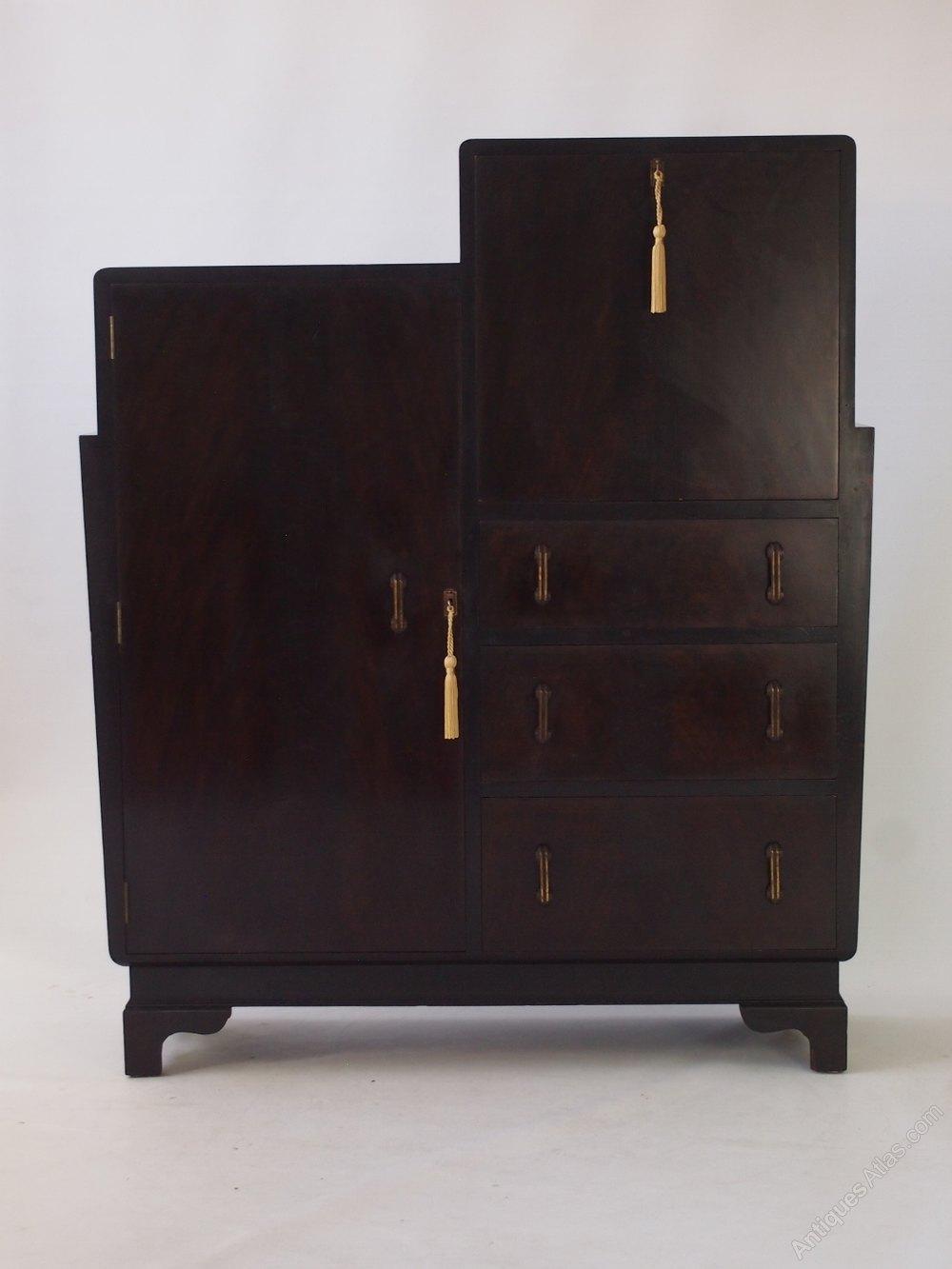 art deco walnut bureau cabinet antiques atlas. Black Bedroom Furniture Sets. Home Design Ideas