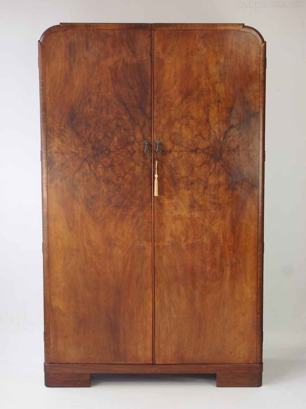 Art Deco Walnut Wardrobe With Fitted Interior Antiques Atlas