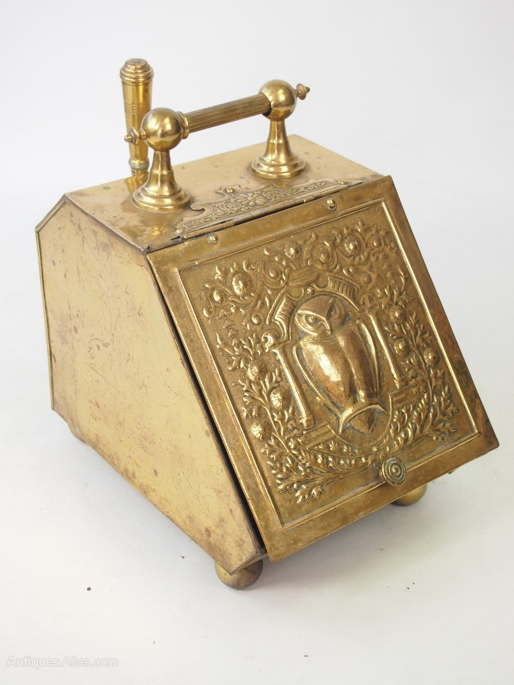 Antiques Atlas - Arts & Crafts Brass Coal Scuttle Or Log Bin