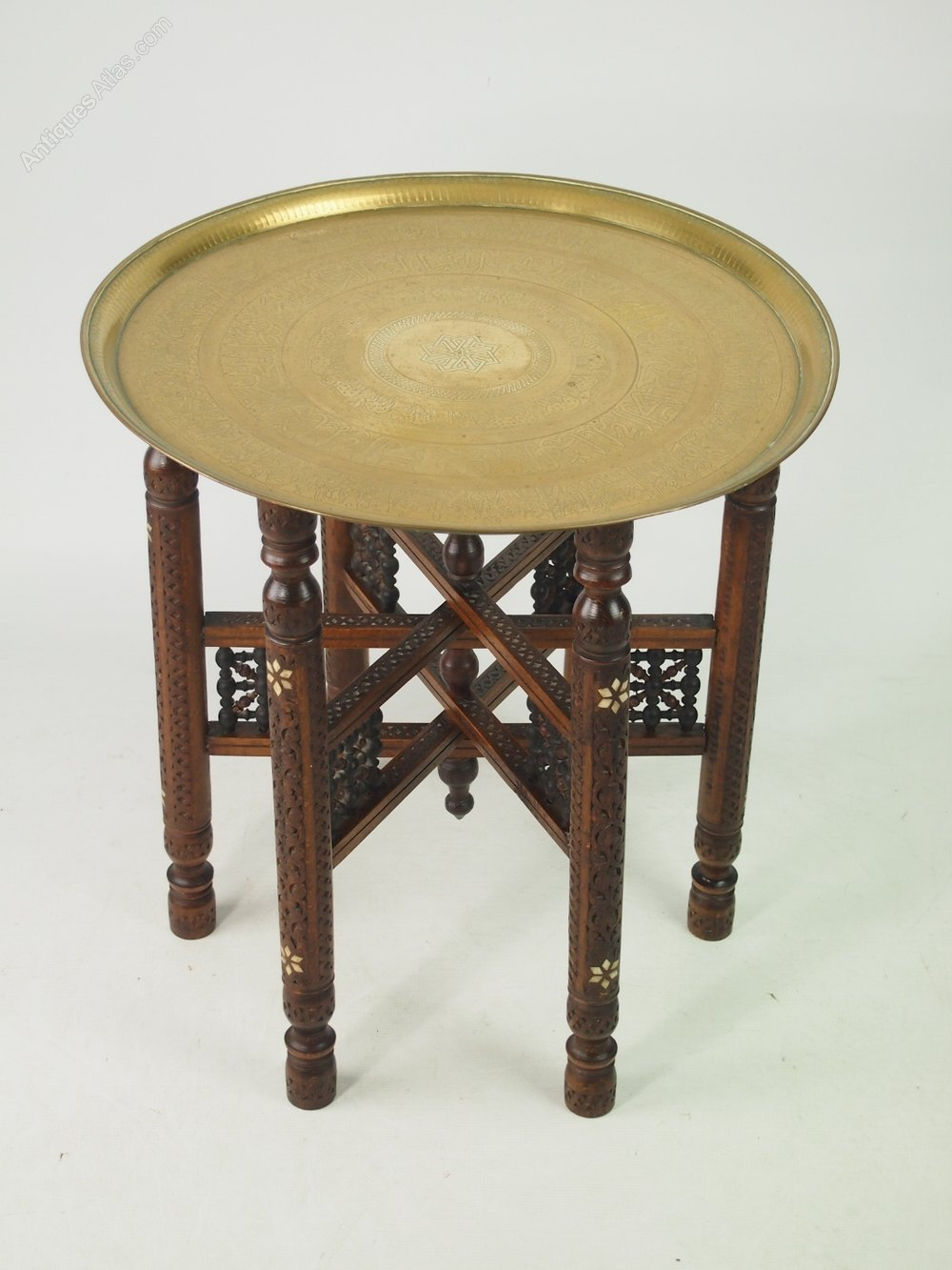The antique coffee tea table berber benares tray lamp oriental folding - Berber Benares Brass Tray Top Folding Coffee Table Antique