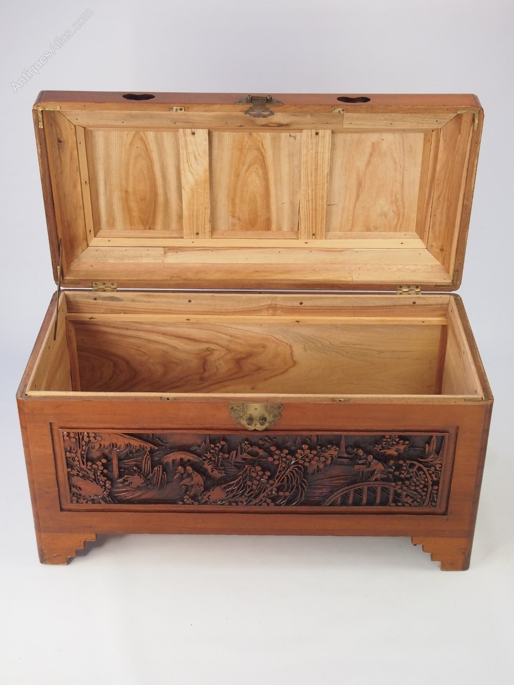 Carved camphor wood chest blanket box antiques atlas