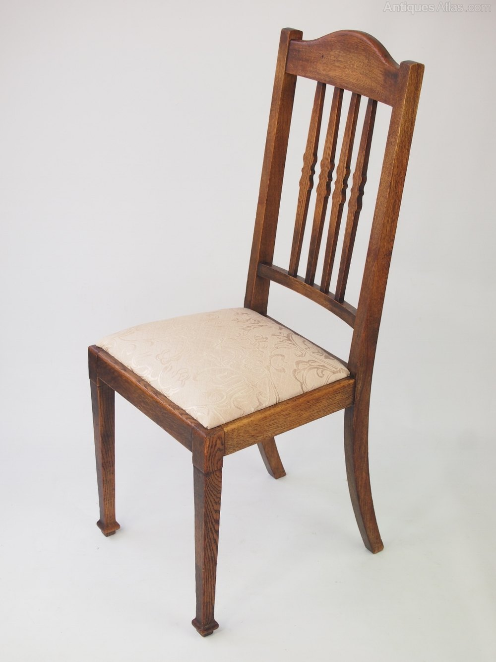 Harlequin set 6 oak dining chairs antiques atlas for Oak dining furniture