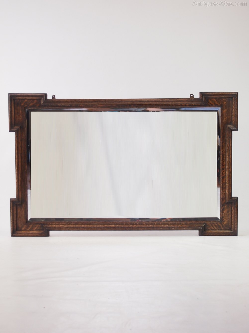Antiques atlas large oak hall mirror or overmantle for Overmantle mirror