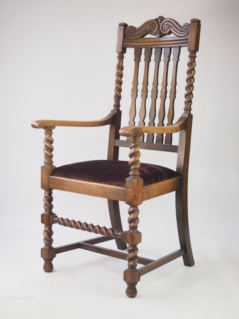 Large oak open armchair antiques atlas