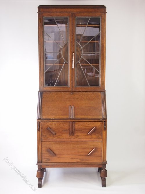 Oak art deco bureau bookcase antiques atlas for Deco bureau