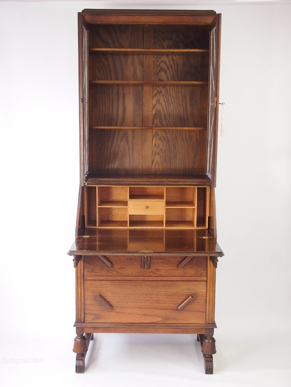 oak art deco bureau bookcase antiques atlas. Black Bedroom Furniture Sets. Home Design Ideas