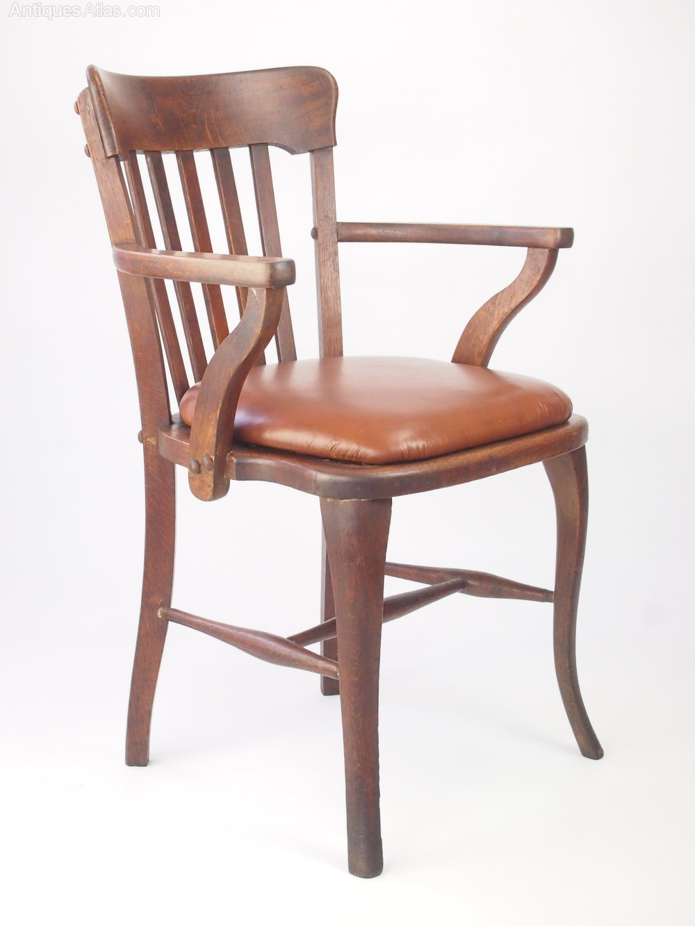 Oak Office Chair ~ Oak desk chair with leather seat antiques atlas