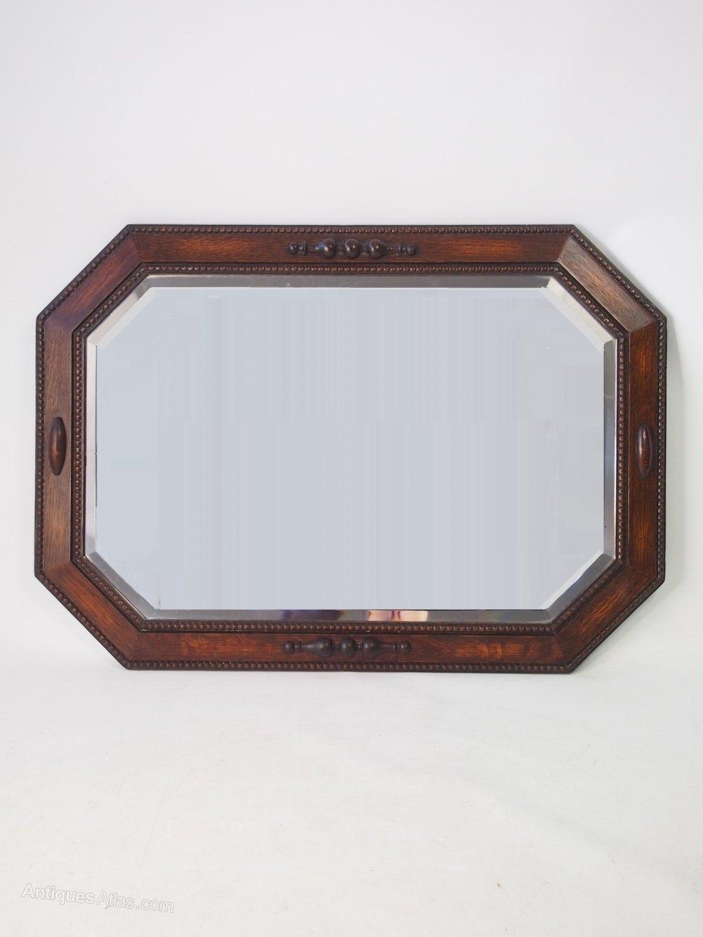 Antiques atlas oak framed mirror or overmantle for Overmantle mirror