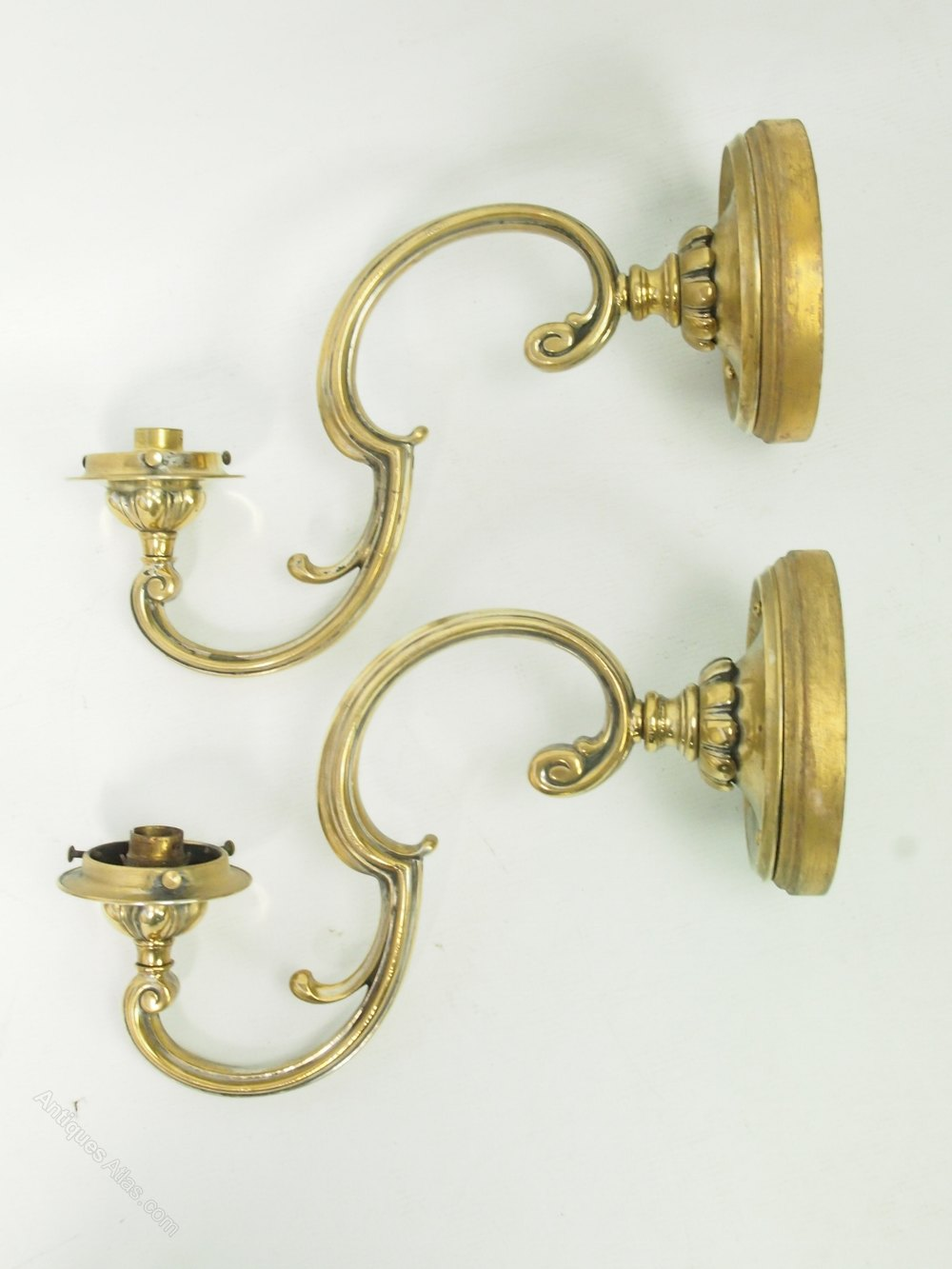 Antiques Atlas - Pair Antique Brass Wall Lights Or Sconces