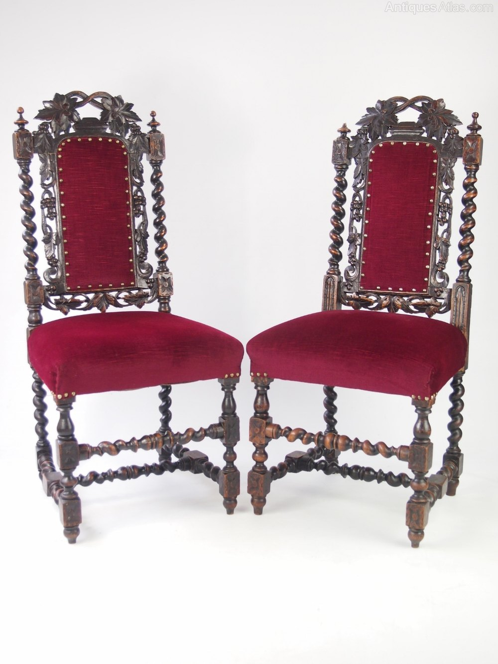 Pair antique victorian gothic oak chairs antiques atlas for Victorian gothic chair