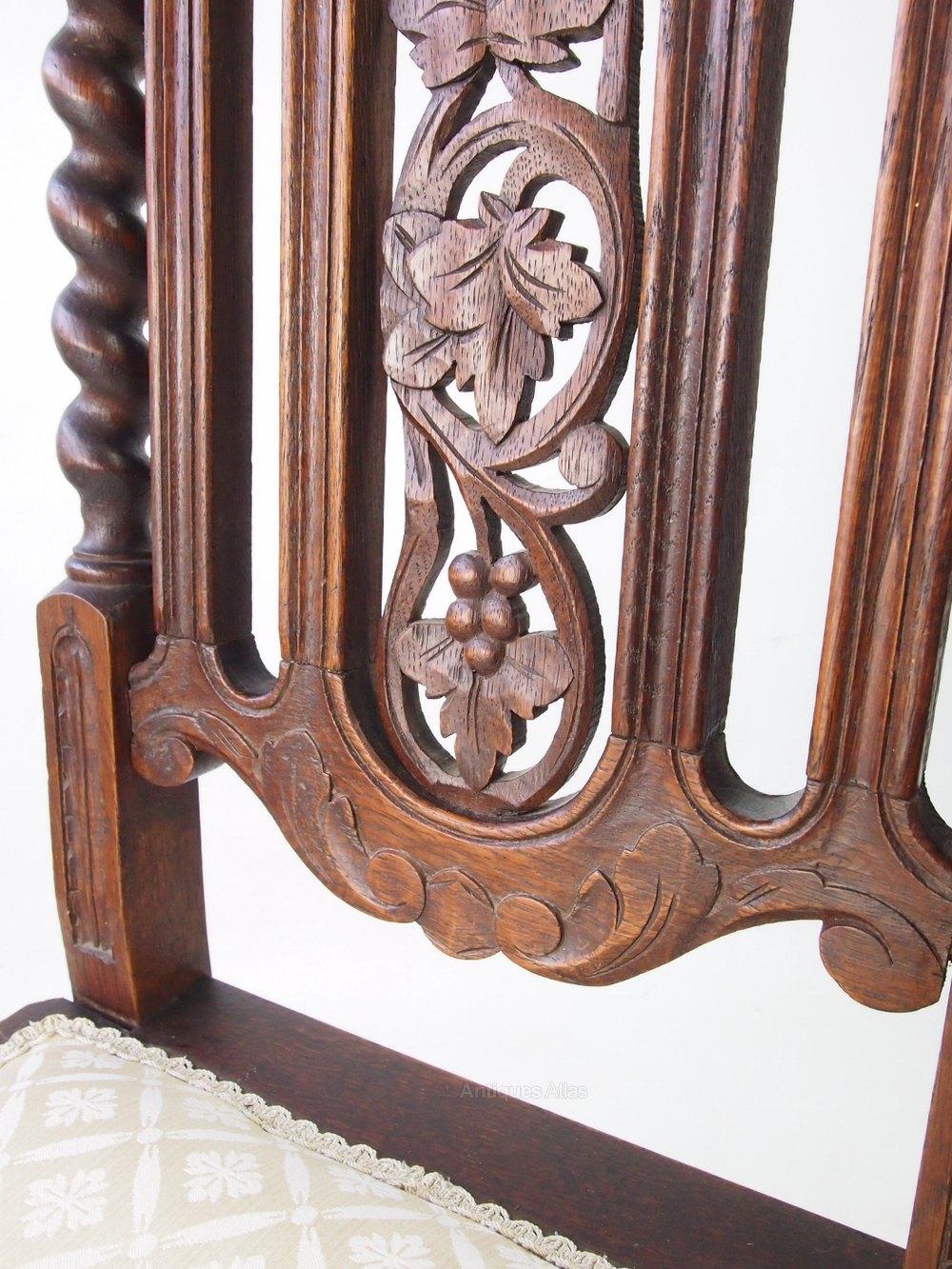Pair Antique Victorian Gothic Revival Oak Chairs - Antiques Atlas