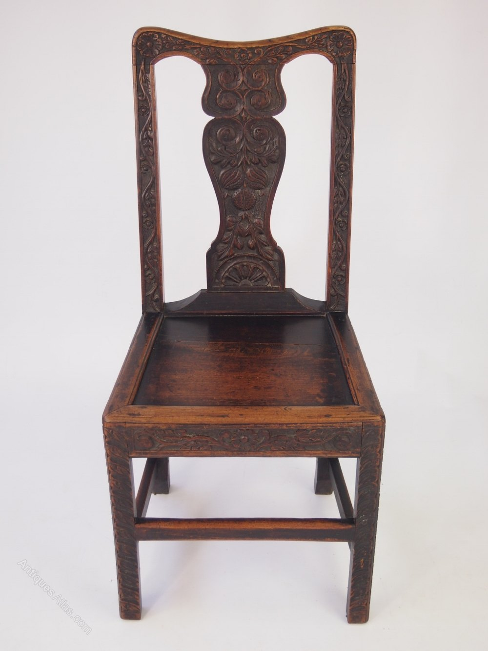 Pair Georgian Amp Later Carved Oak Hall Chairs Antiques Atlas