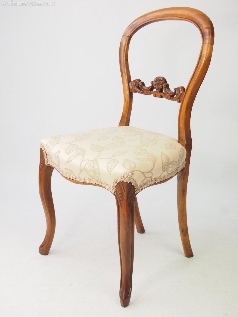 Pair Victorian Walnut Balloon Back Chairs Antiques Atlas