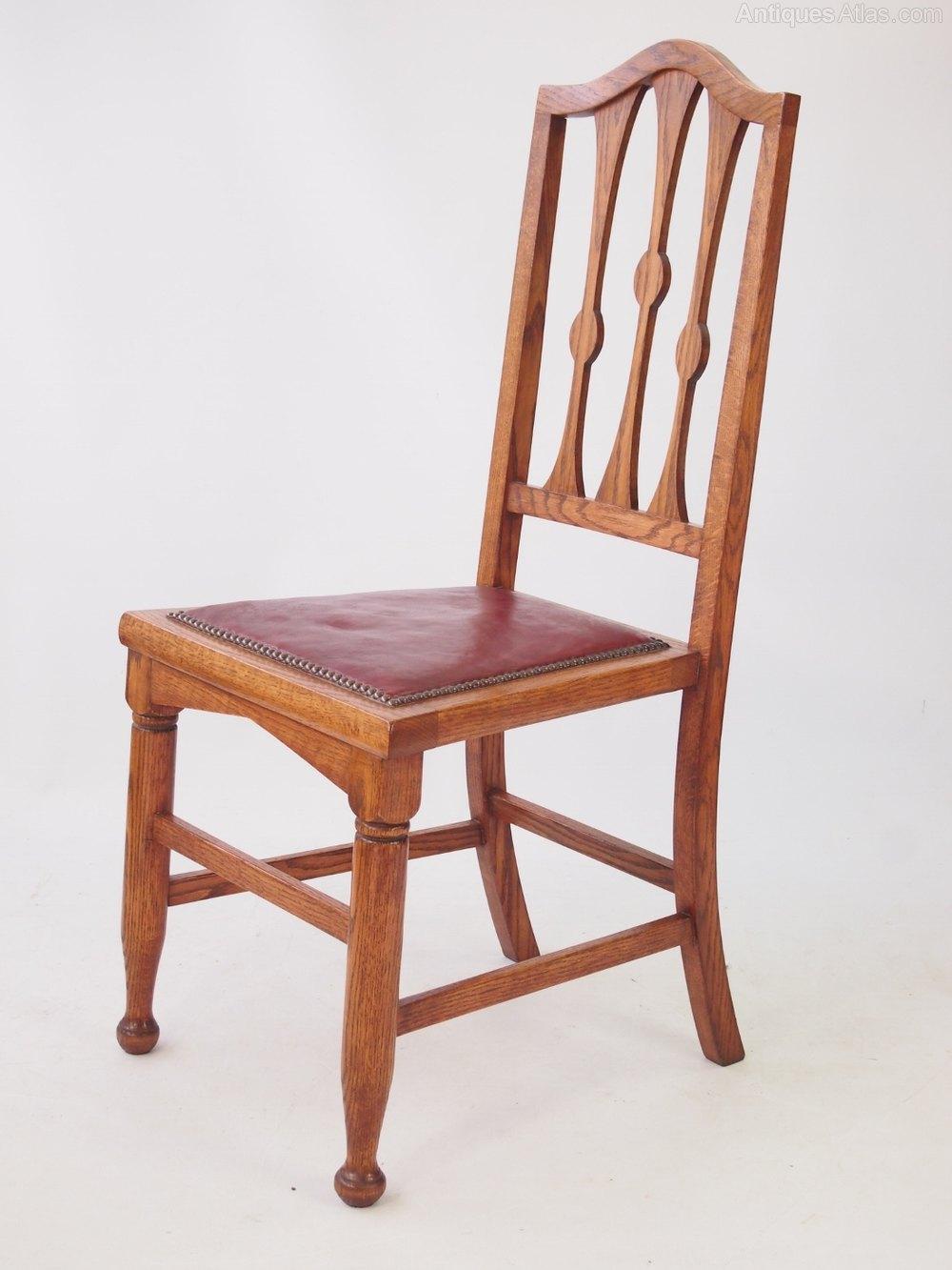 Set 4 Antique Arts Crafts Oak Dining Chairs Antiques Atlas