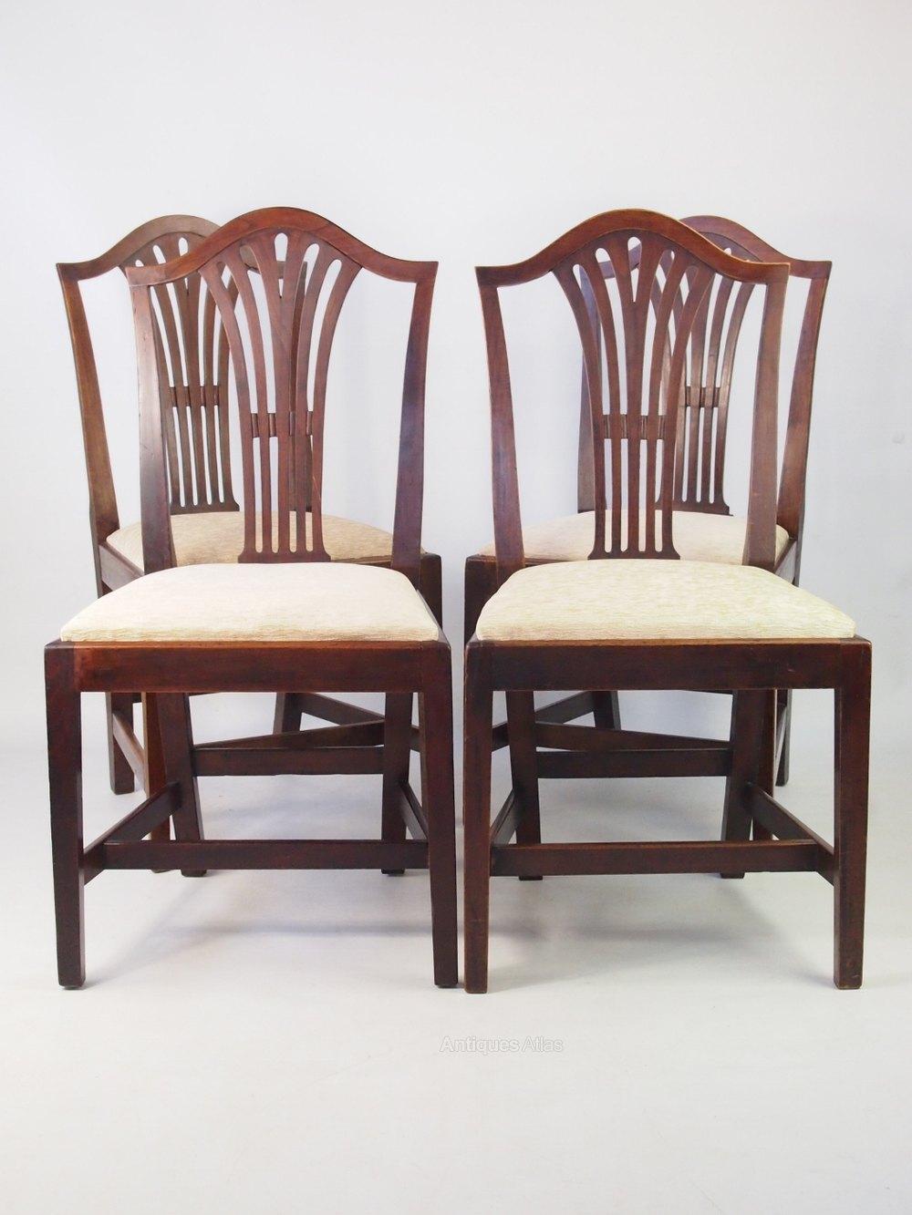 Set 4 Antique Georgian Ash Dining Chairs Antiques Atlas