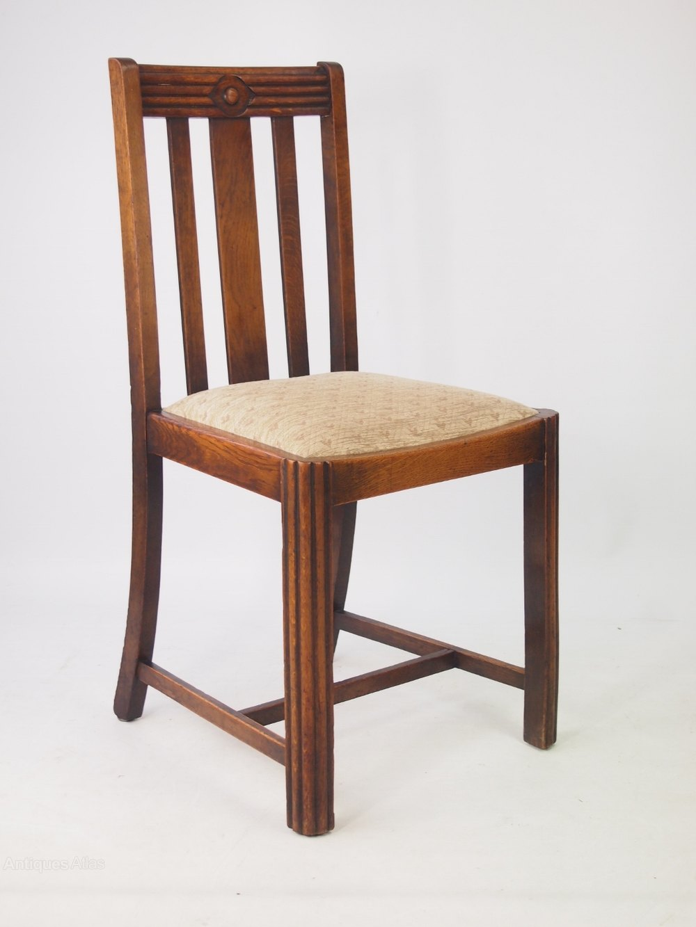 Set 4 art deco oak dining chairs antiques atlas for Oak dining chairs