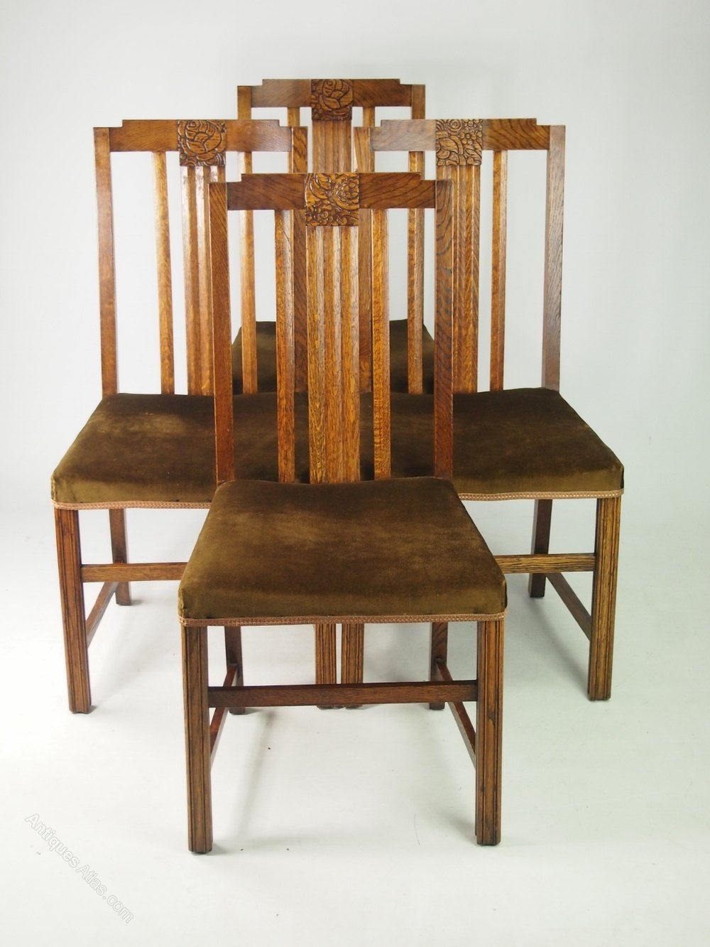 Set 4 Art Deco Oak Dining Chairs Antiques Atlas