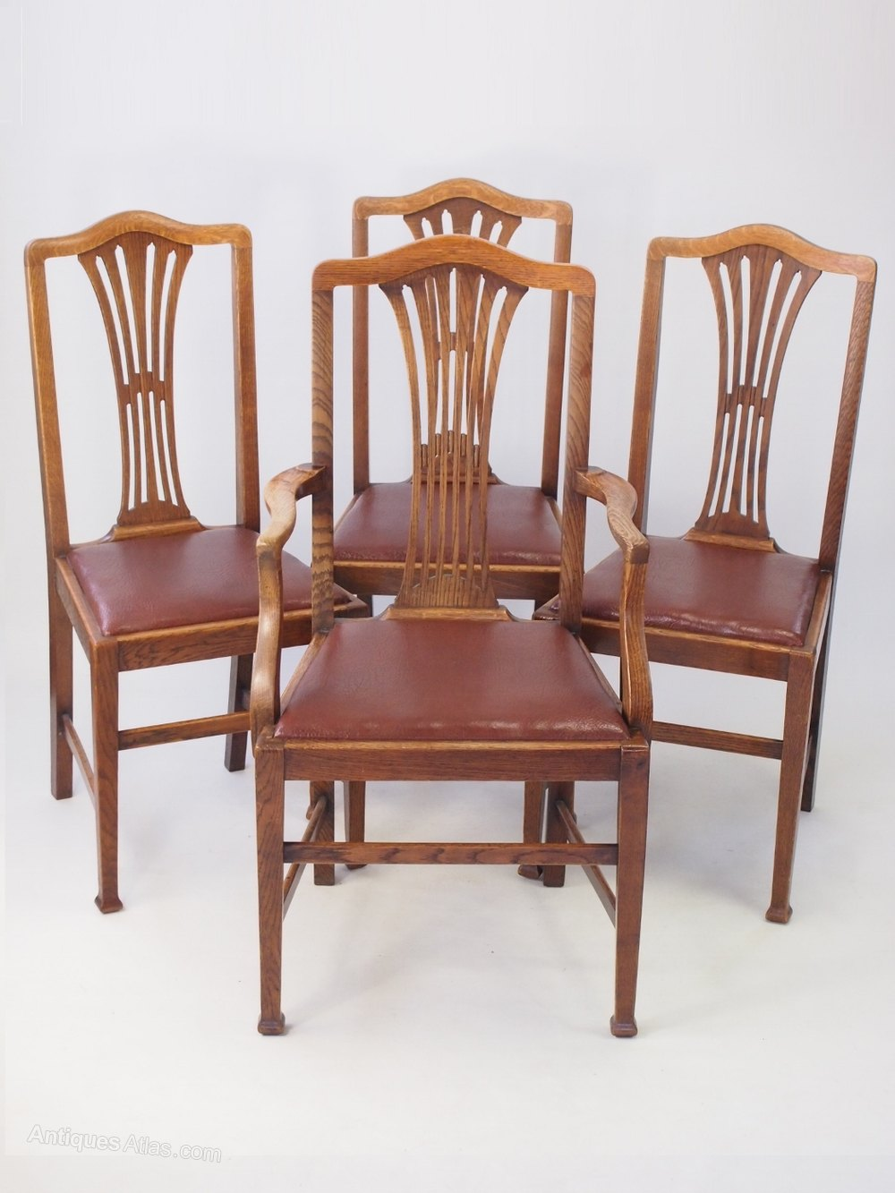 Set edwardian oak dining chairs antiques atlas