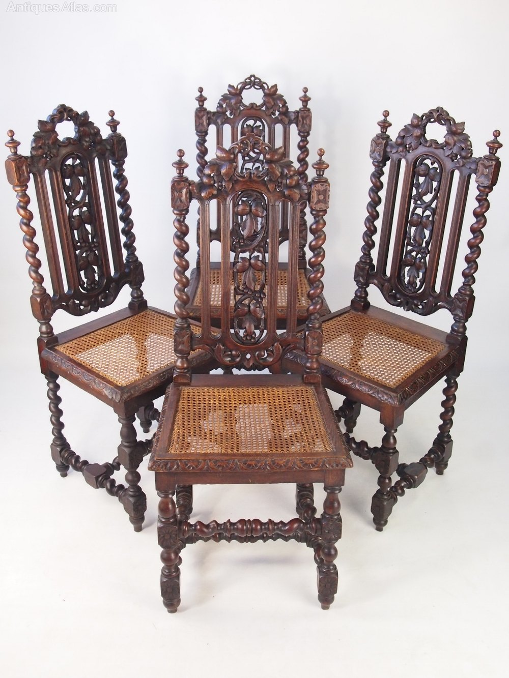 Set 4 Victorian Gothic Oak Dining Chairs Antiques Atlas