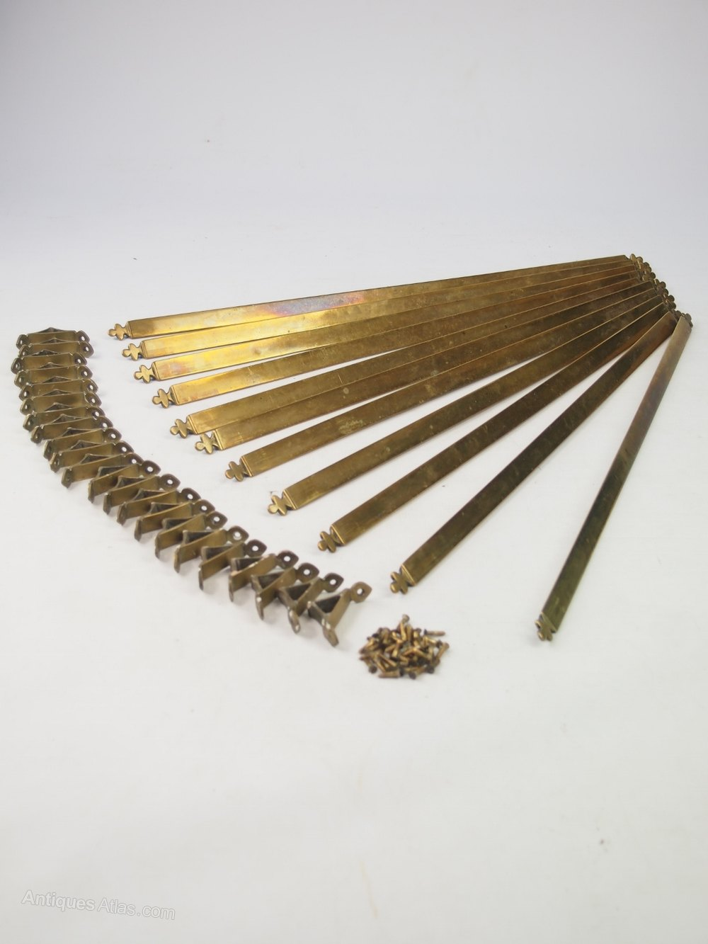 Antiques Atlas Set Of 11 Antique Brass Stair Rods Amp Clips