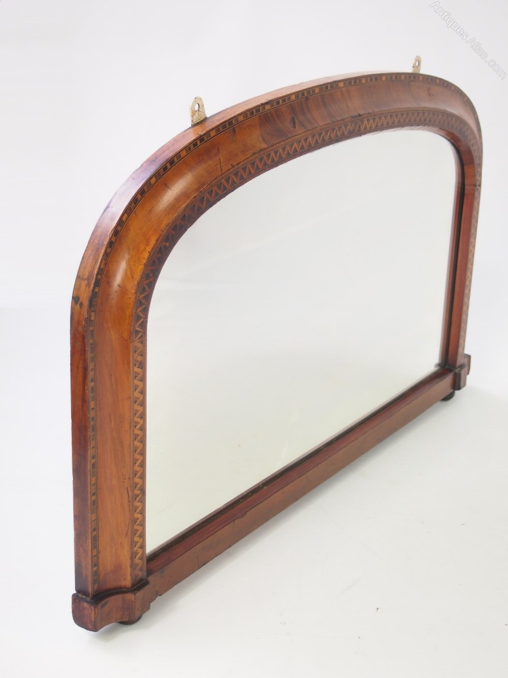 Antiques atlas small victorian walnut overmantel or hall for Overmantle mirror