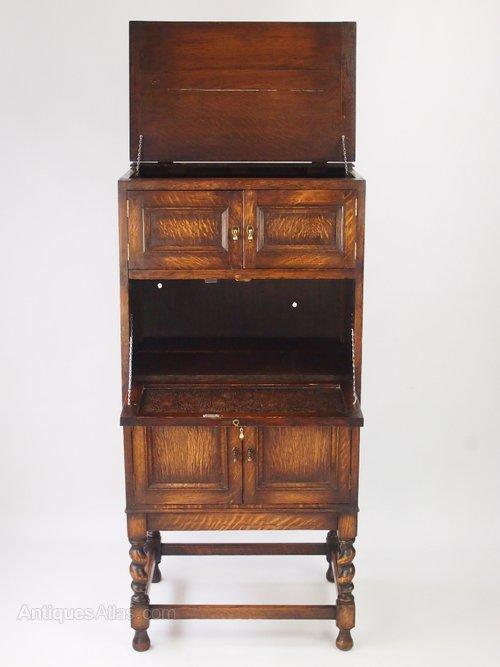 Tall Vintage Oak Cabinet Chest Bedroom Cupboard Antiques Atlas