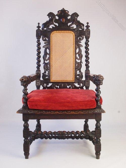 Victorian Gothic Revival Armchair Throne Chair Antiques