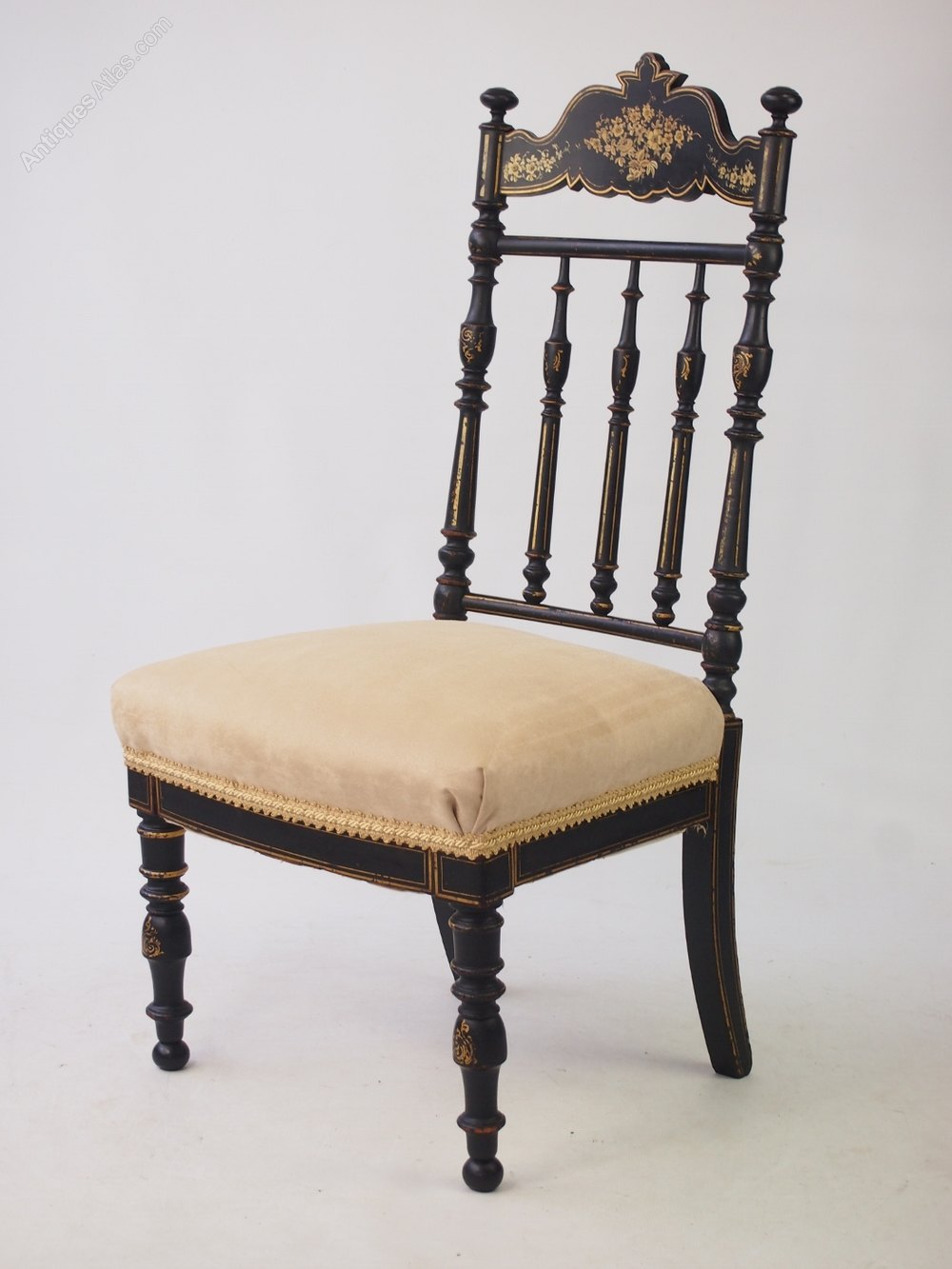 Chair Dressing Table ~ Victorian japanned side chair dressing table