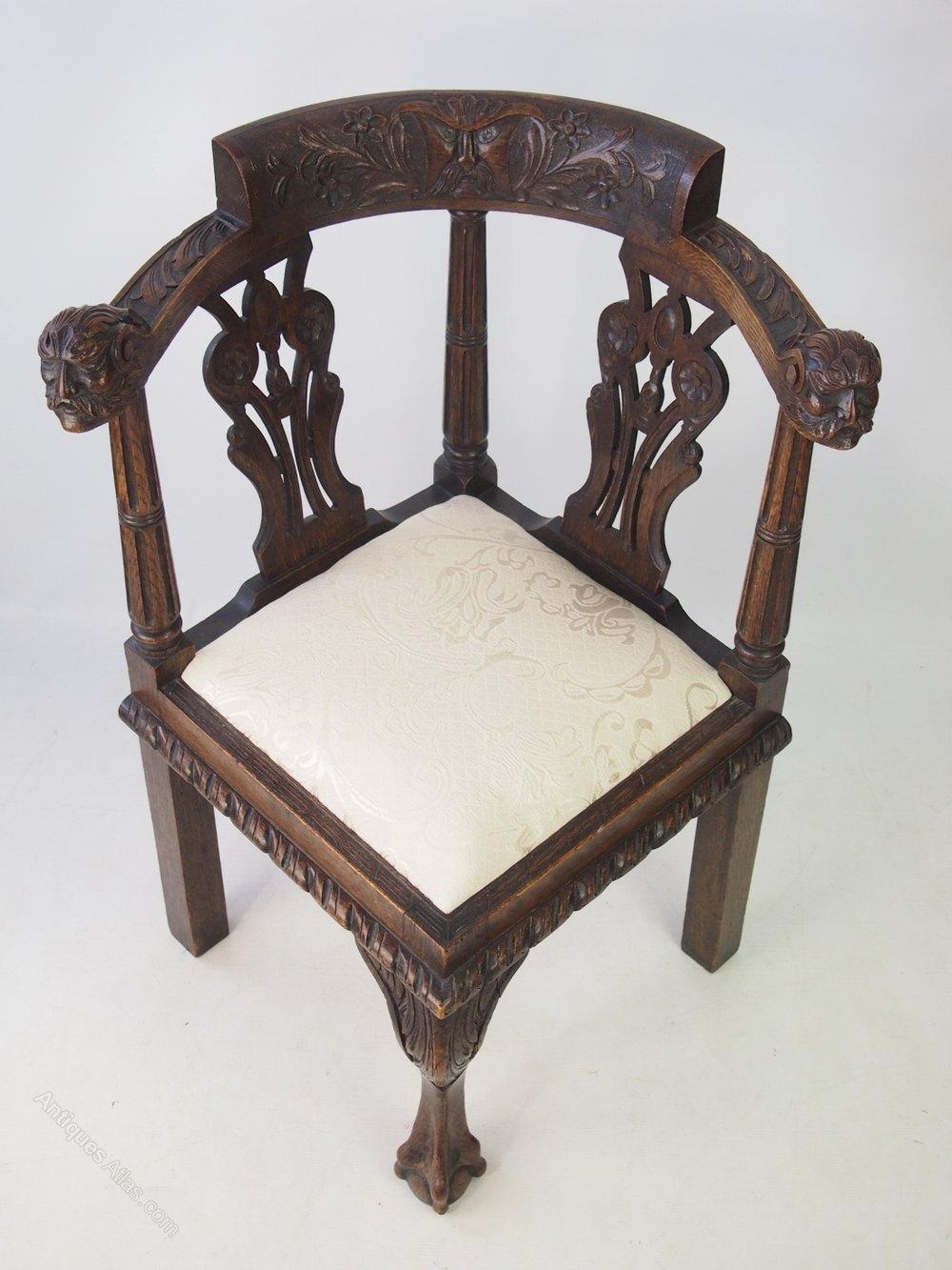 Victorian Oak Corner Chair Carved Moustachioed Men