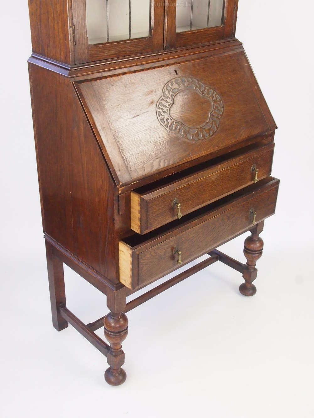 vintage oak bureau bookcase cabinet antiques atlas. Black Bedroom Furniture Sets. Home Design Ideas