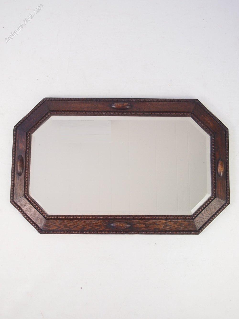Antiques atlas vintage oak framed mirror or overmantle for Overmantle mirror