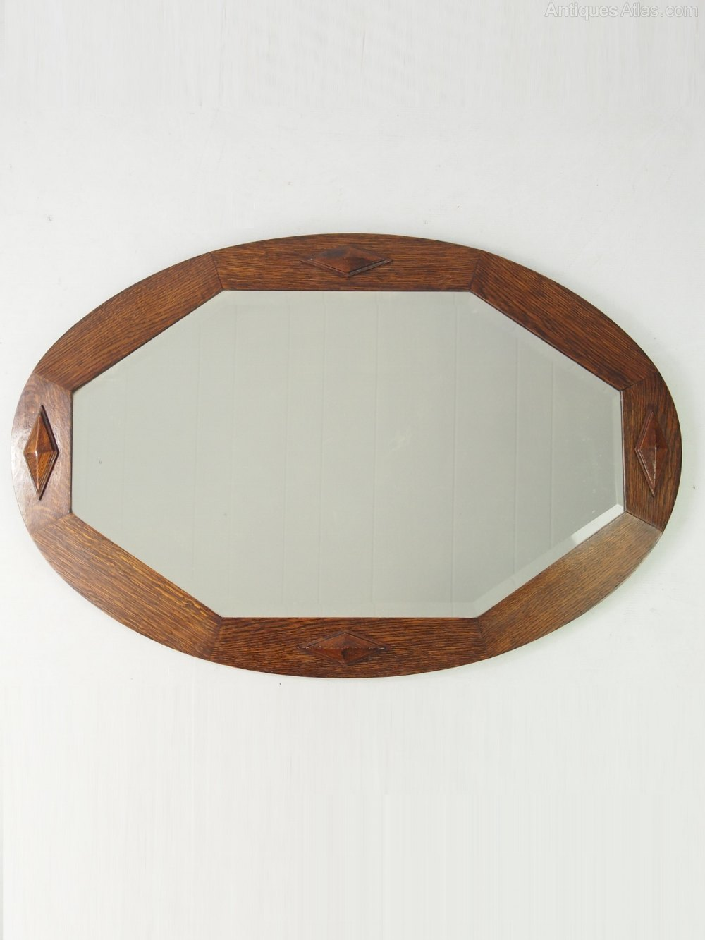 Antiques atlas vintage oval oak framed mirror for Mirror 40cm wide