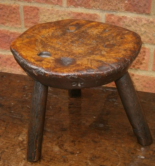 18th Century Primitive Ash And Elm Milking Stool
