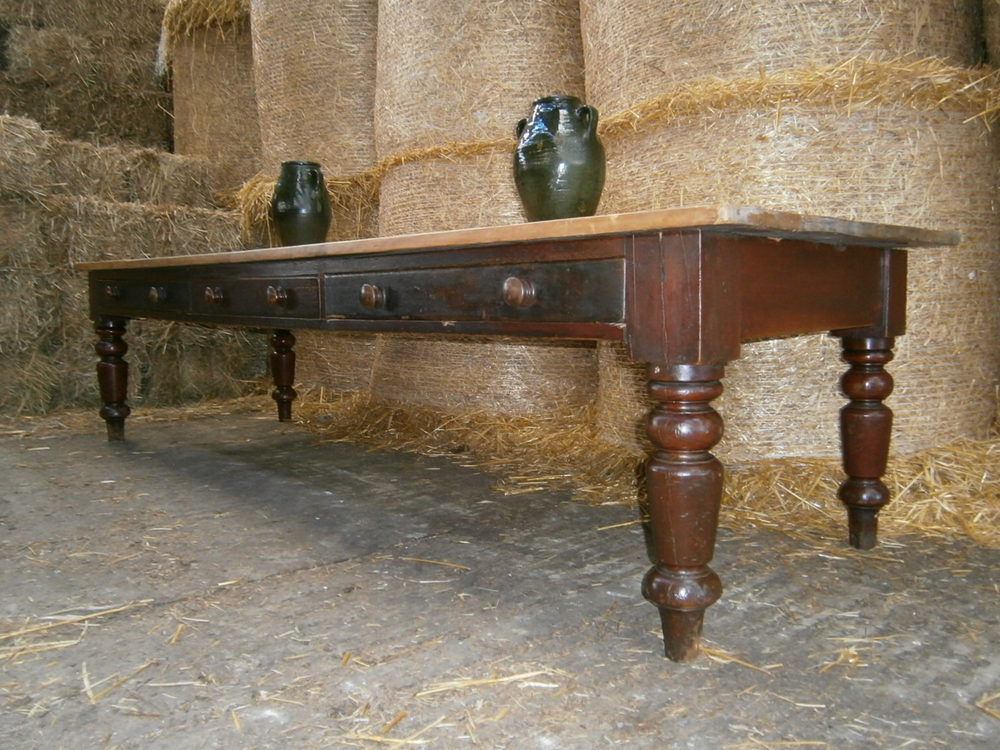 Victorian country pine farmhouse table 10ft long for 10 ft farmhouse table