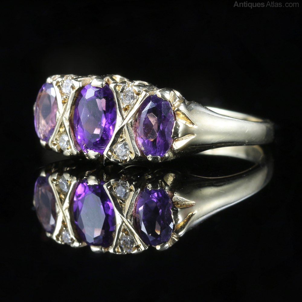 antiques atlas amethyst ring trilogy of amethyst