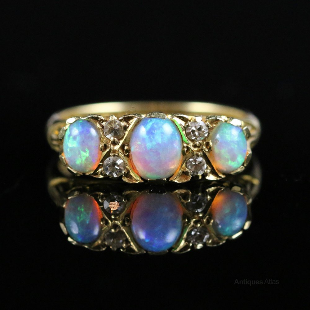 antiques atlas antique deco opal trilogy ring
