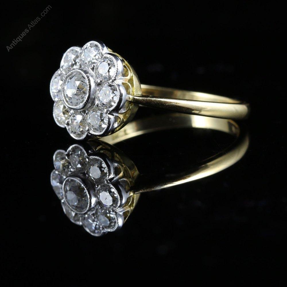 antiques atlas antique diamond cluster ring 18ct gold 154ct