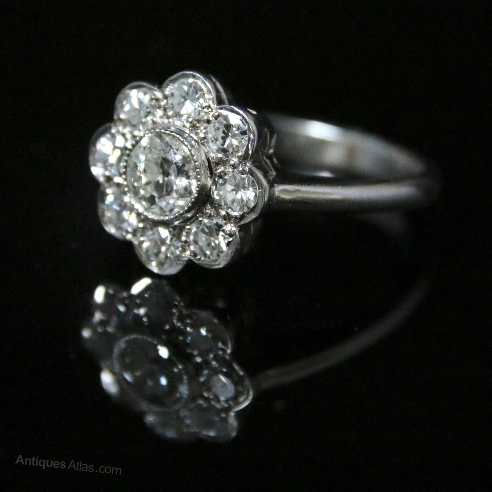 Antiques Atlas Antique Diamond Cluster Ring 1 85ct Of